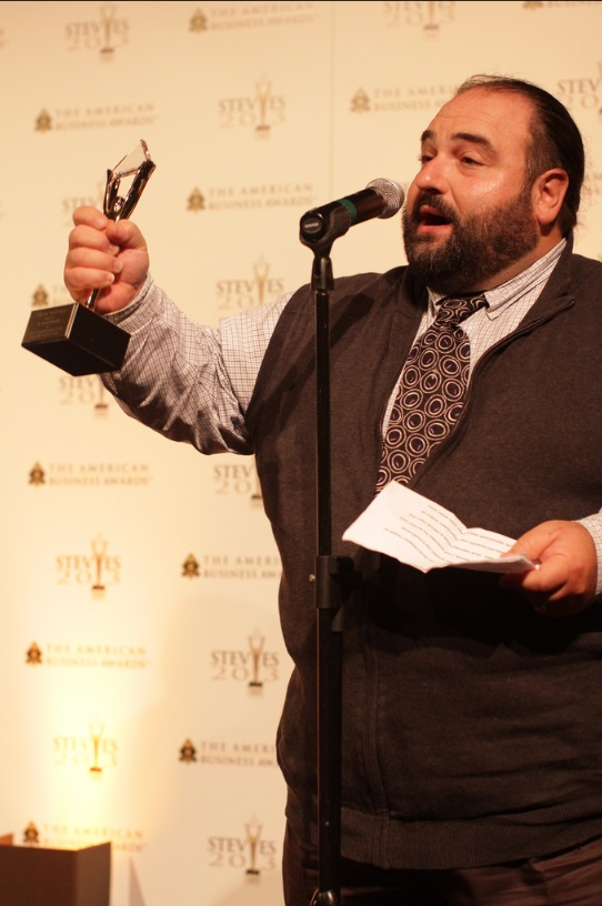 Dir. of Marketing, Anthony Vitiello accepts the Stevie Award for Best New Product - Transportation Management Systems